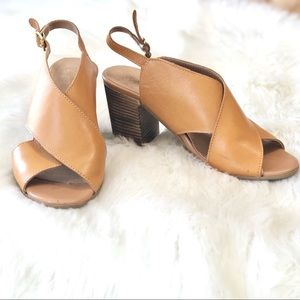 Seychelles Crossover Leather Heeled Sandals Sz 7